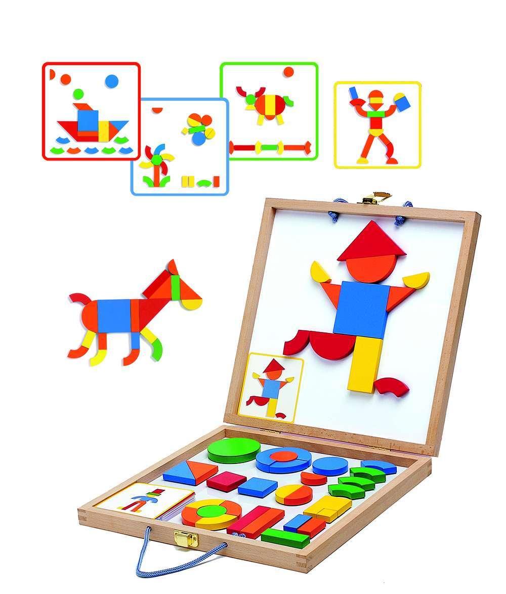 מגנטים עץ + לוח גאומטריה